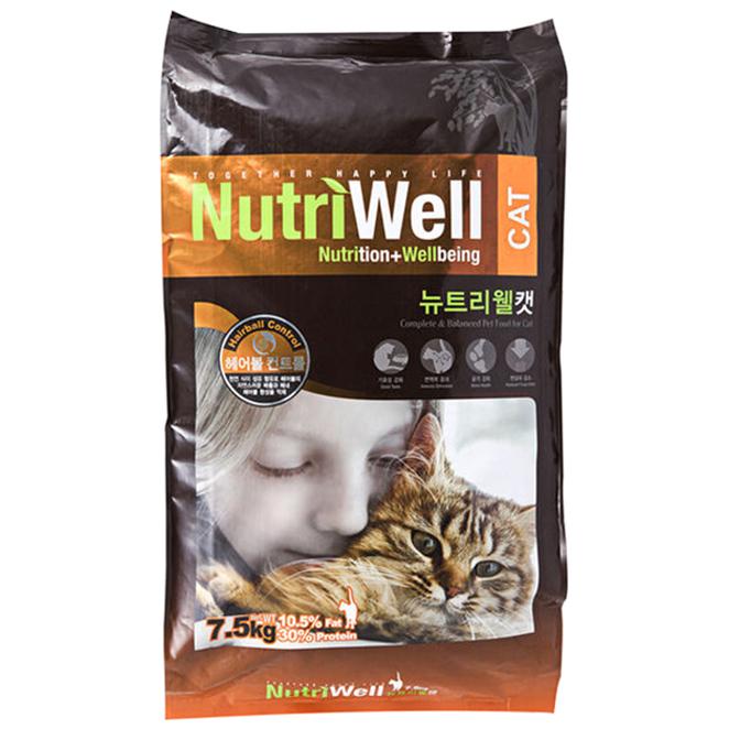 뉴트리웰 캣 7.5kg 고양이 사료, 1개
