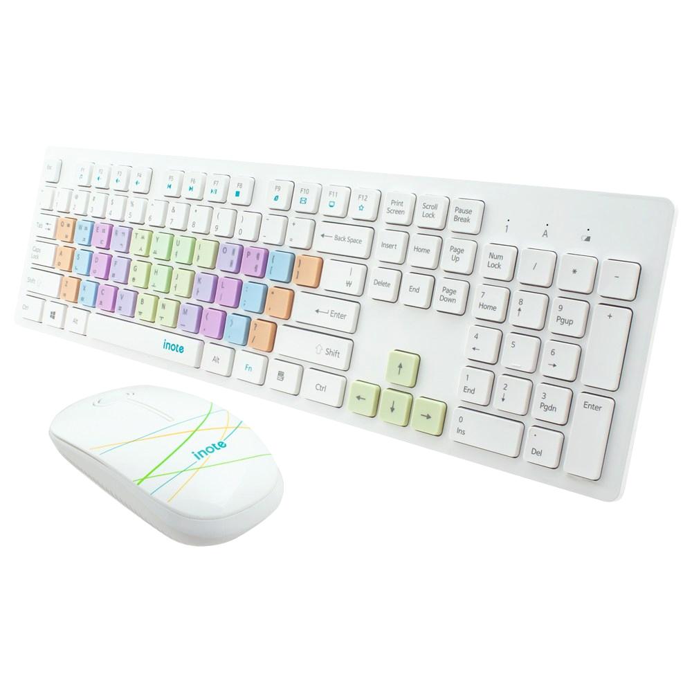 inote 레인보우키캡 무선키보드/마우스 세트, FS-36816KM, 혼합 색상