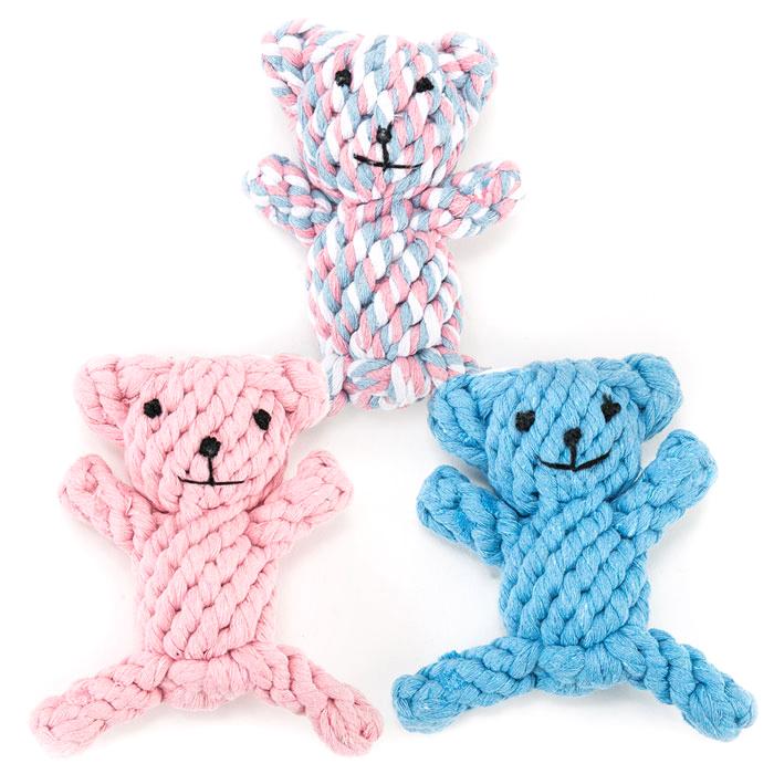 딩동펫 반려견 곰돌이 실타래 장난감 3p 세트, 핑크, 블루, 혼합, 1세트