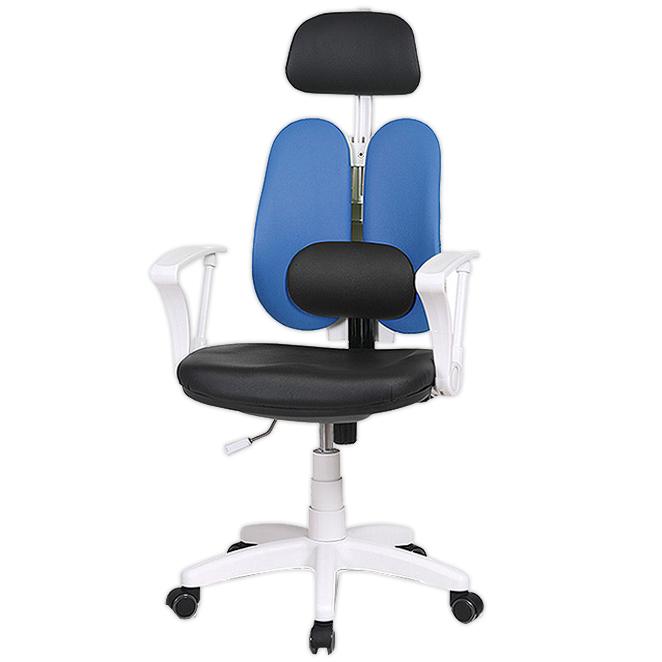 체어클럽 에코듀얼S7 요추헤더형 화이트바디 의자, 인조가죽 블루