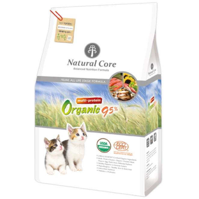 네츄럴코어 유기농 95% 멀티프로테인 고양이 건식사료, 2kg, 1개