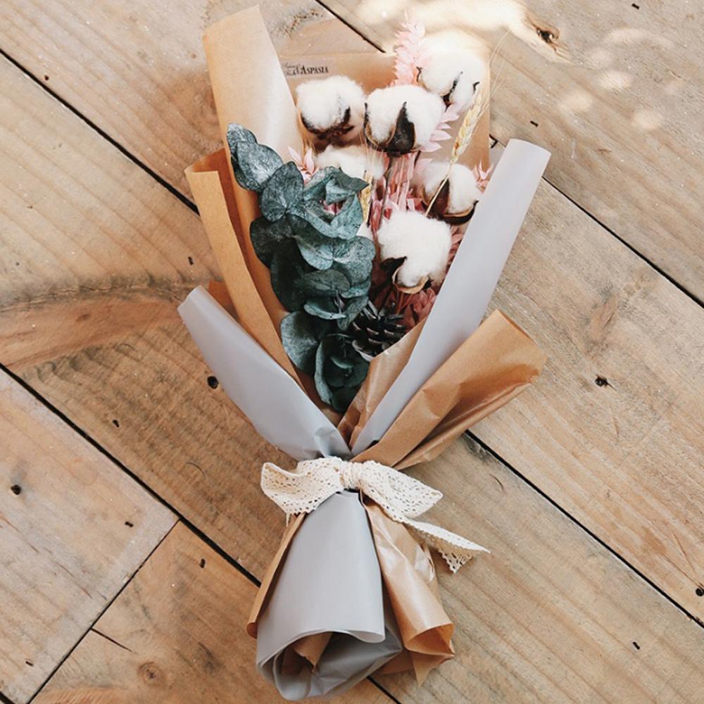 아스파시아 목화 프리저브드 크라프트 꽃다발, 혼합 색상