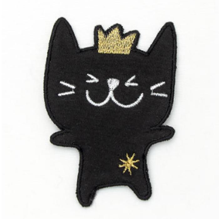 해피베어스 왕관 고양이 봉제식 와펜, 블랙, 3개