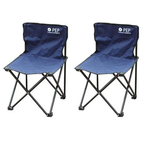 PEP 휴대용 접이식 그라운드 캠핑의자, 네이비, 2개