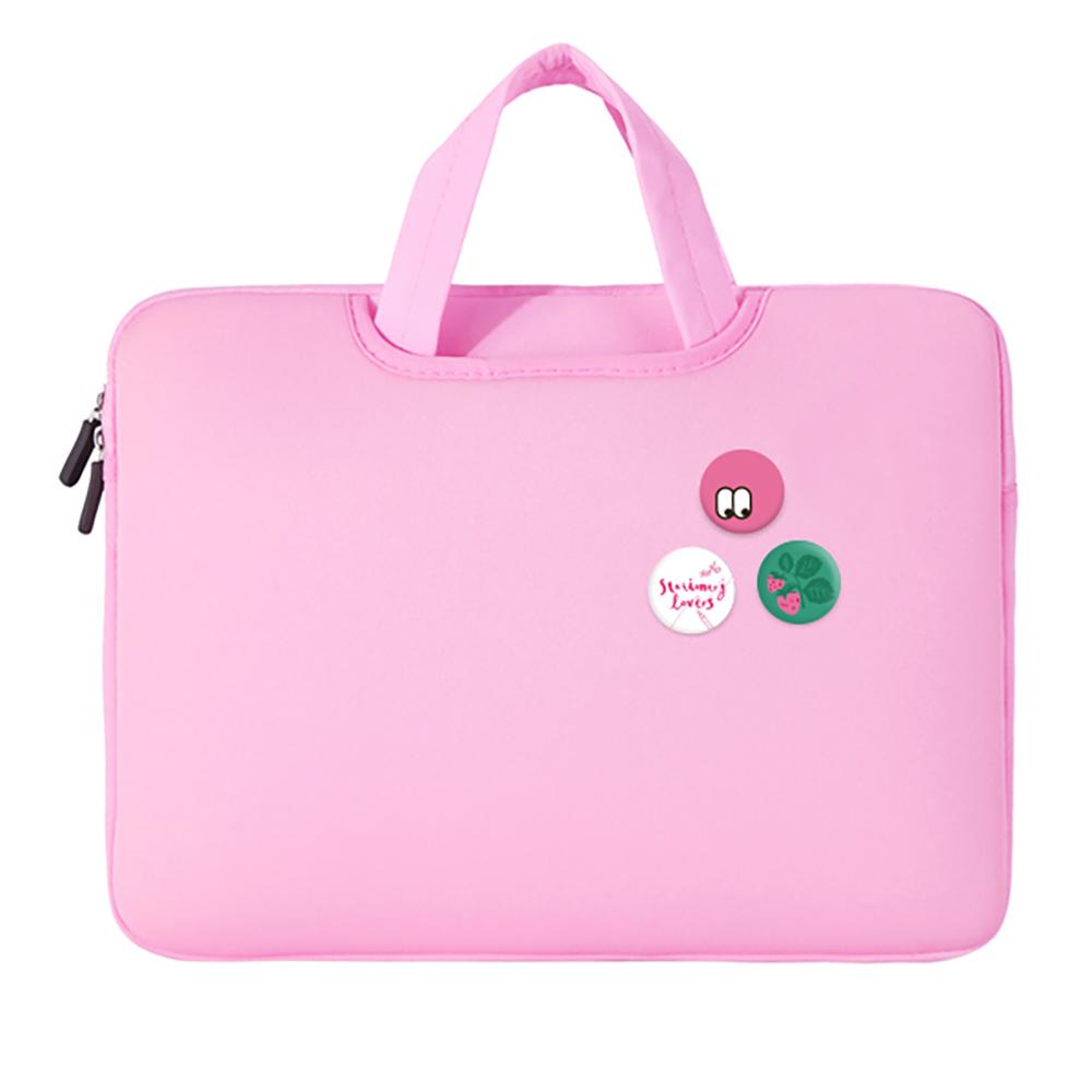 디스트 스윗멜로우 노트북 파우치 + 핀버튼 4종 세트, 핑크, 15.6in