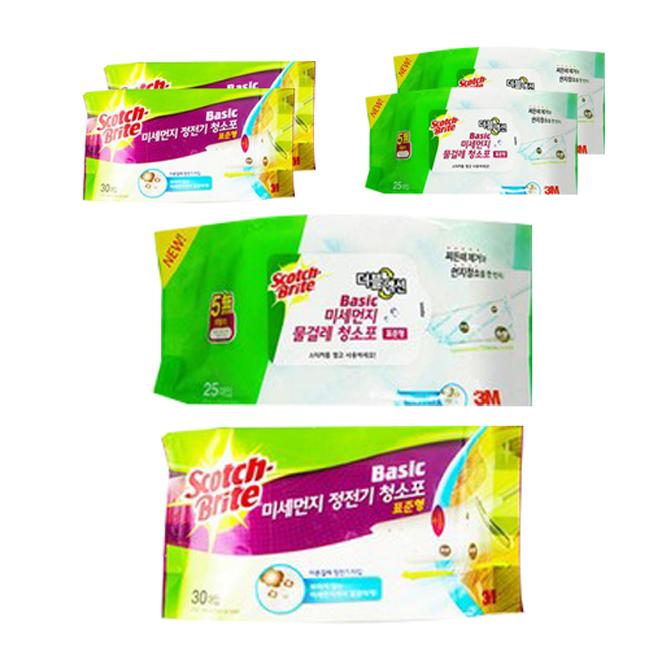스카치브라이트 베이직 미세먼지 정전기 청소포 표준형 30매 x 3p + 물걸레 청소포 더블액션 표준형 25매 x 3p, 1세트