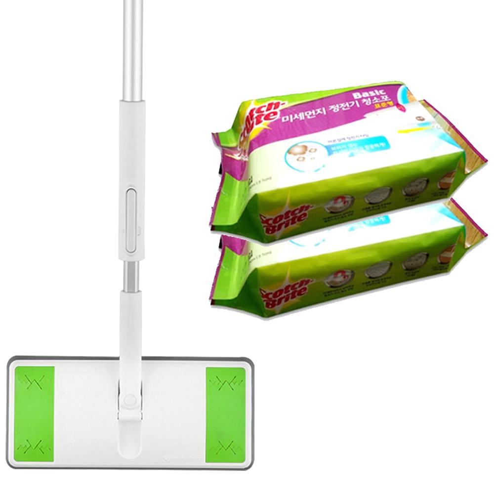 스카치브라이트 올터치 표준형 막대걸레 밑판 + 봉 + 미세먼지 정전기 청소포 30매 x 2p, 1세트