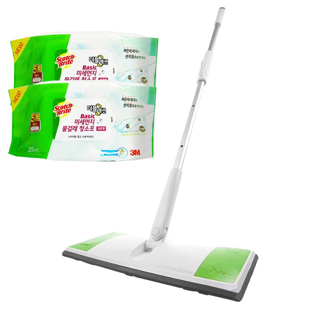 스카치브라이트 올터치 막대걸레 표준형 + 베이직 물걸레 청소포 더블액션 25매 x 2p, 1세트