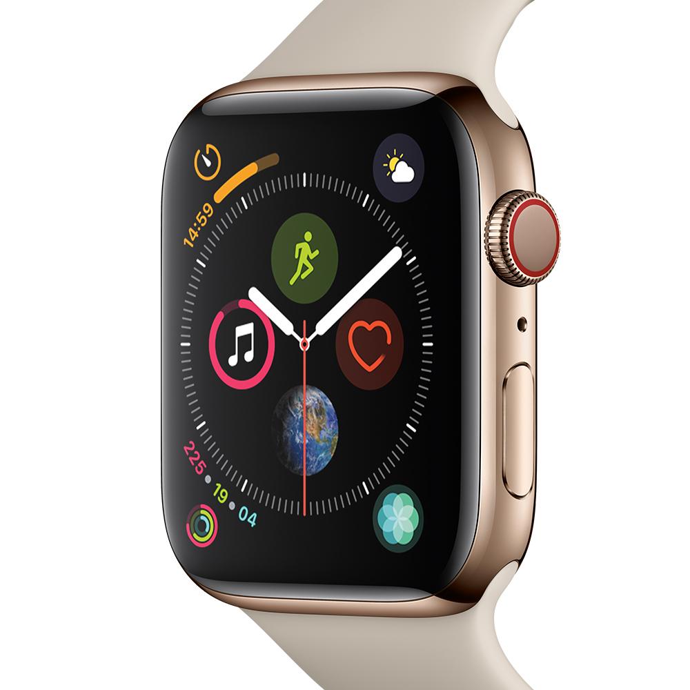 Apple 애플워치4 GPS+셀룰러 44mm, MTX42KH/A, 골드 스테인레스 스틸 + 스톤 스포츠 밴드