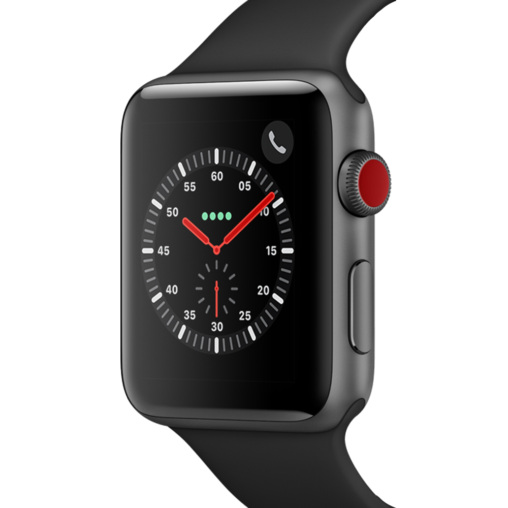 Apple 애플워치3 GPS+셀룰러 42mm + 알루미늄 케이스, 스페이스 그레이(MTH22KH/A), 블랙(밴드)