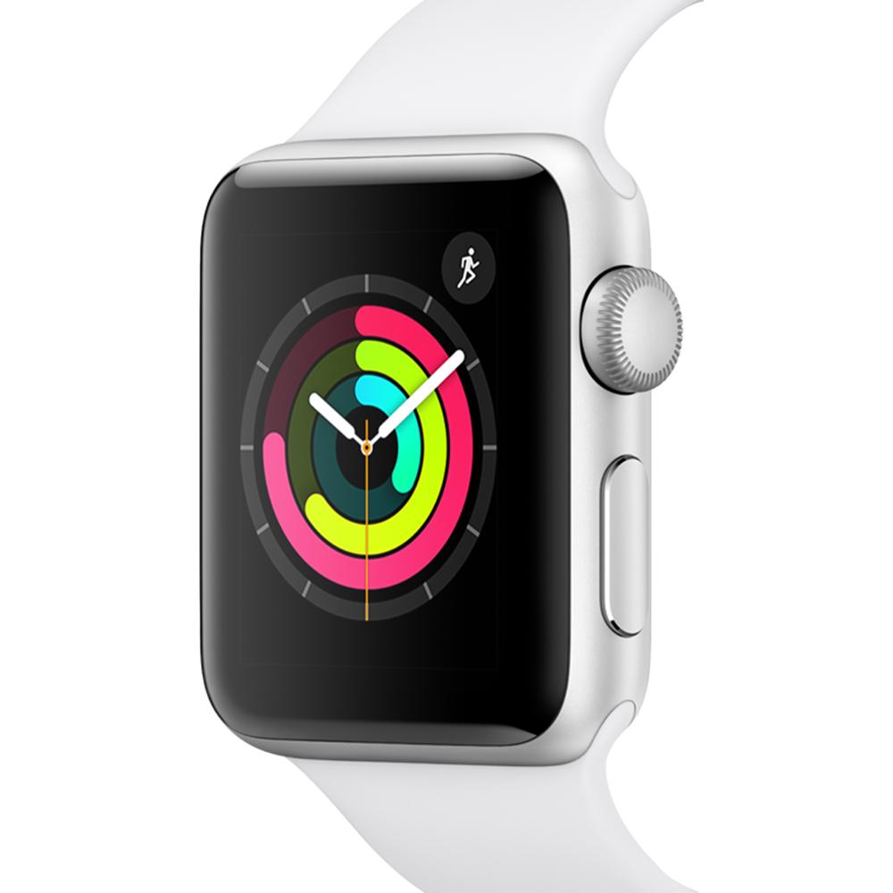 Apple 애플워치3, GPS, 실버 알루미늄 케이스, 화이트 스포츠 밴드