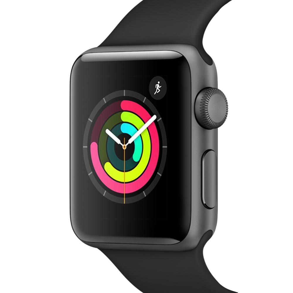 Apple 애플워치3, GPS, 스페이스 그레이 알루미늄 케이스, 블랙 스포츠 밴드