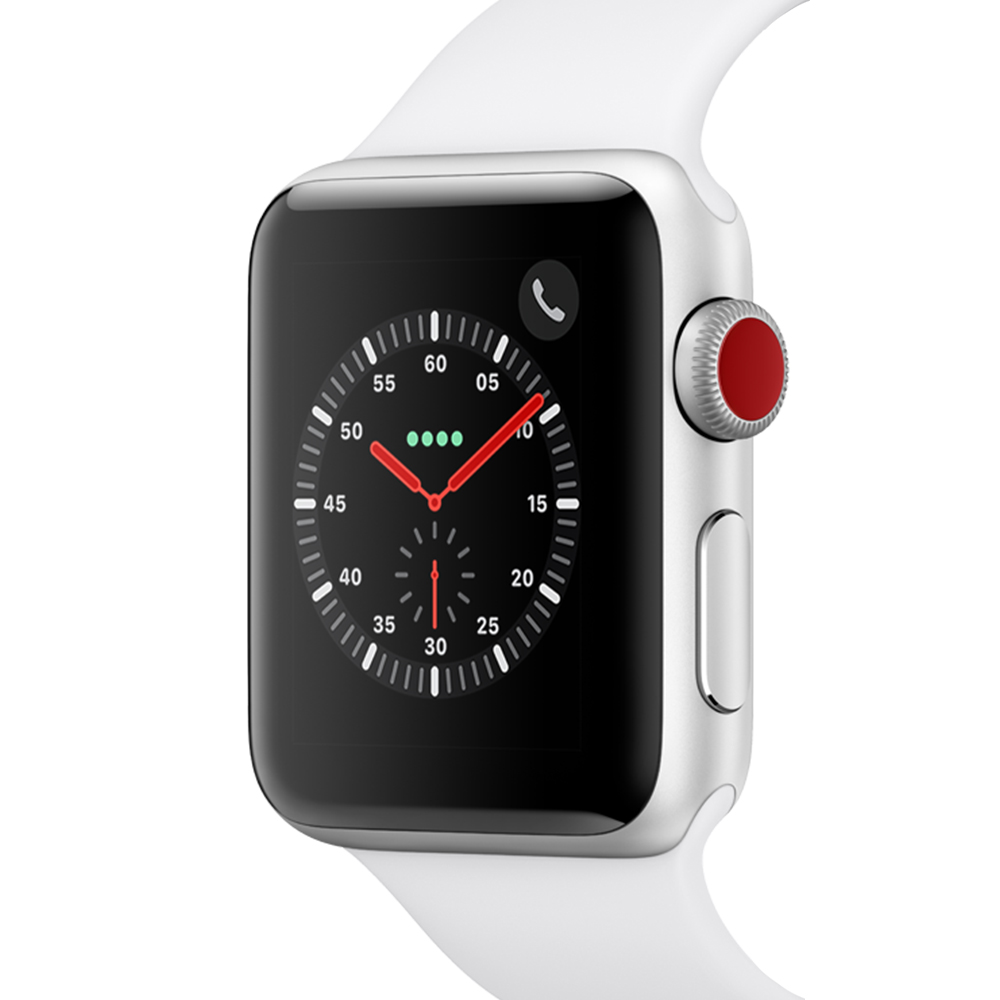 Apple 애플워치3 GPS+셀룰러 38mm + 알루미늄 케이스, MTGN2KH/A, 실버(MTGN2KH/A), 화이트(밴드)