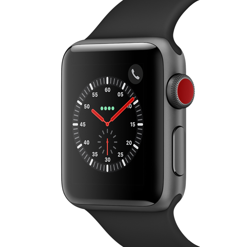 Apple 애플워치3 GPS+셀룰러 38mm + 알루미늄 케이스, MTGP2KH/A, 스페이스그레이(MTGP2KH/A), 블랙(밴드)