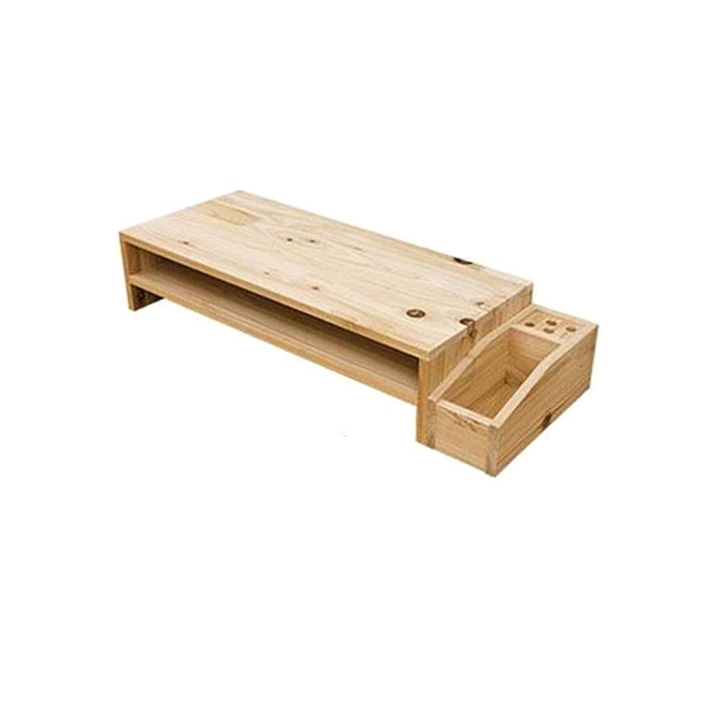 홈인퍼니처 삼나무 원목 모니터 받침대 모니터 받침대2단 필통, 모니터 받침대2단 필통-네츄럴