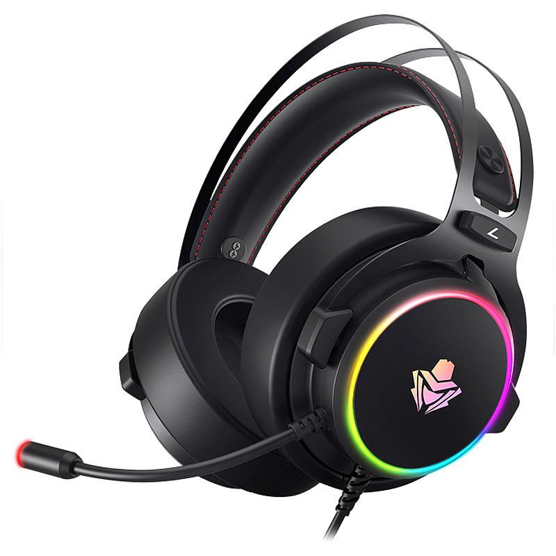 앱코 가상 7.1 RGB 노이즈 캔슬링 마이크 3D 게이밍 헤드셋, HACKER B890U, 혼합 색상