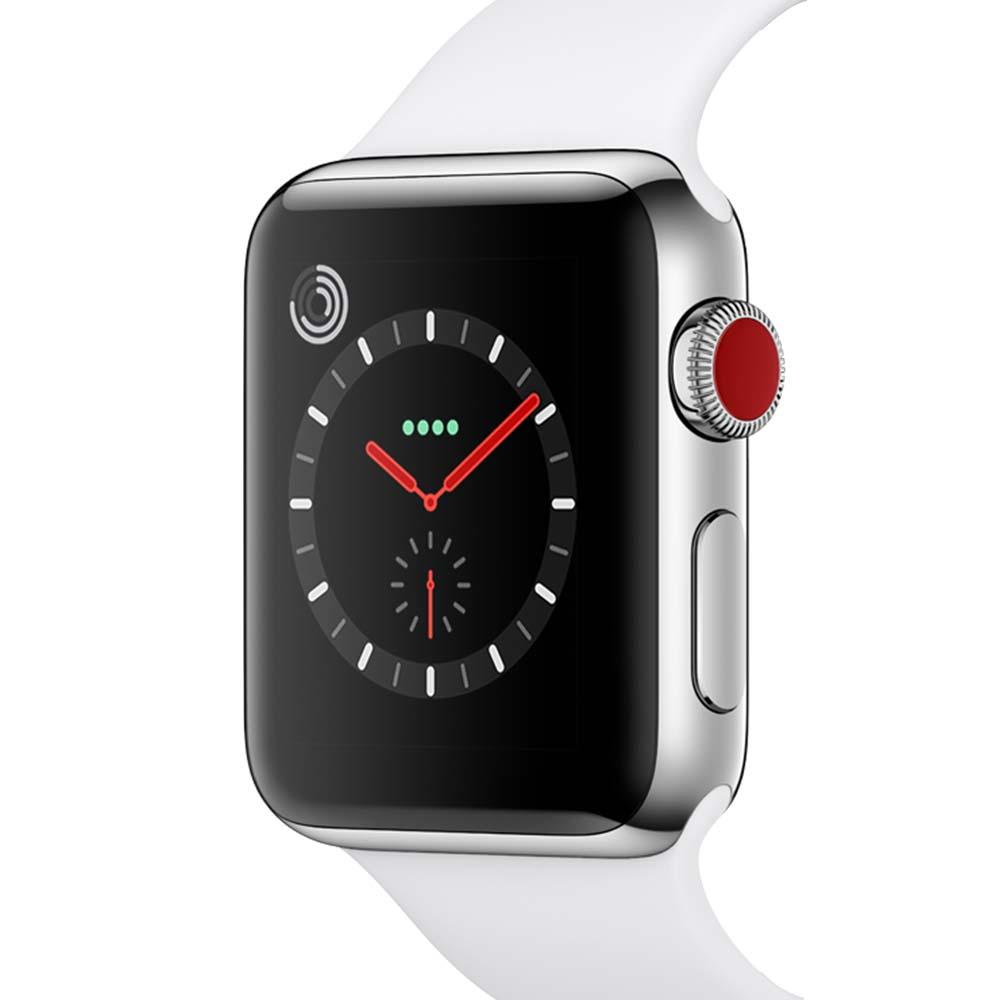 Apple 애플워치 3 GPS + 셀룰러 38mm, MQLV2KHA, 스테인리스 스틸 케이스 + 화이트 스포츠밴드
