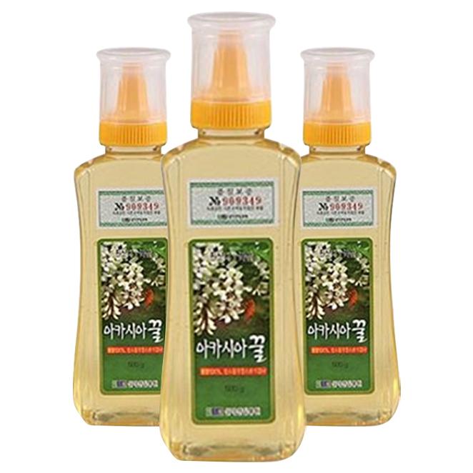 [설악산밀봉원] 튜브아카시아꿀 (순수 꽃꿀100%), 500g, 3개입