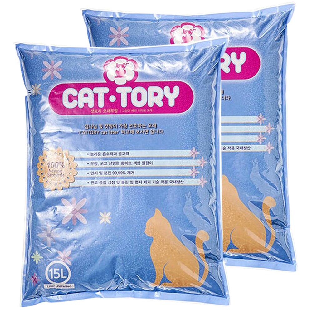 캣토리 응고형 고양이 모래 무향, 15L, 2개