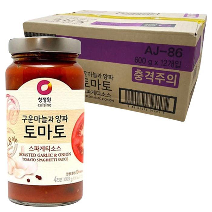 청정원 구운마늘과 양파 토마토 스파게티소스, 600g, 12개