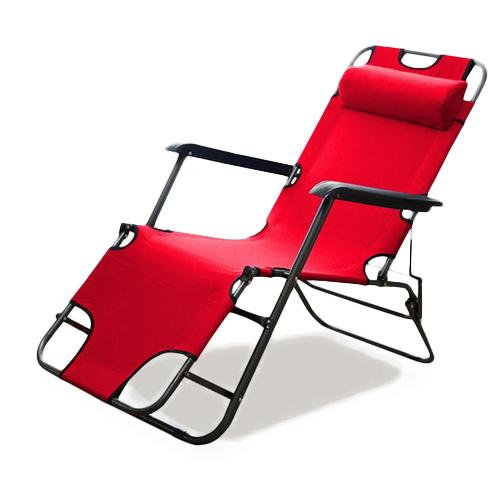 로티캠프 레져용 접이식 침대의자 대형 침대형/릴렉스 체어 레드