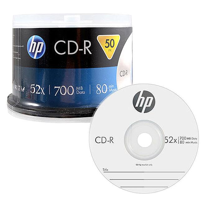 HP CD-R 52X 700MB 50p + 케익 트레이, 단일 상품