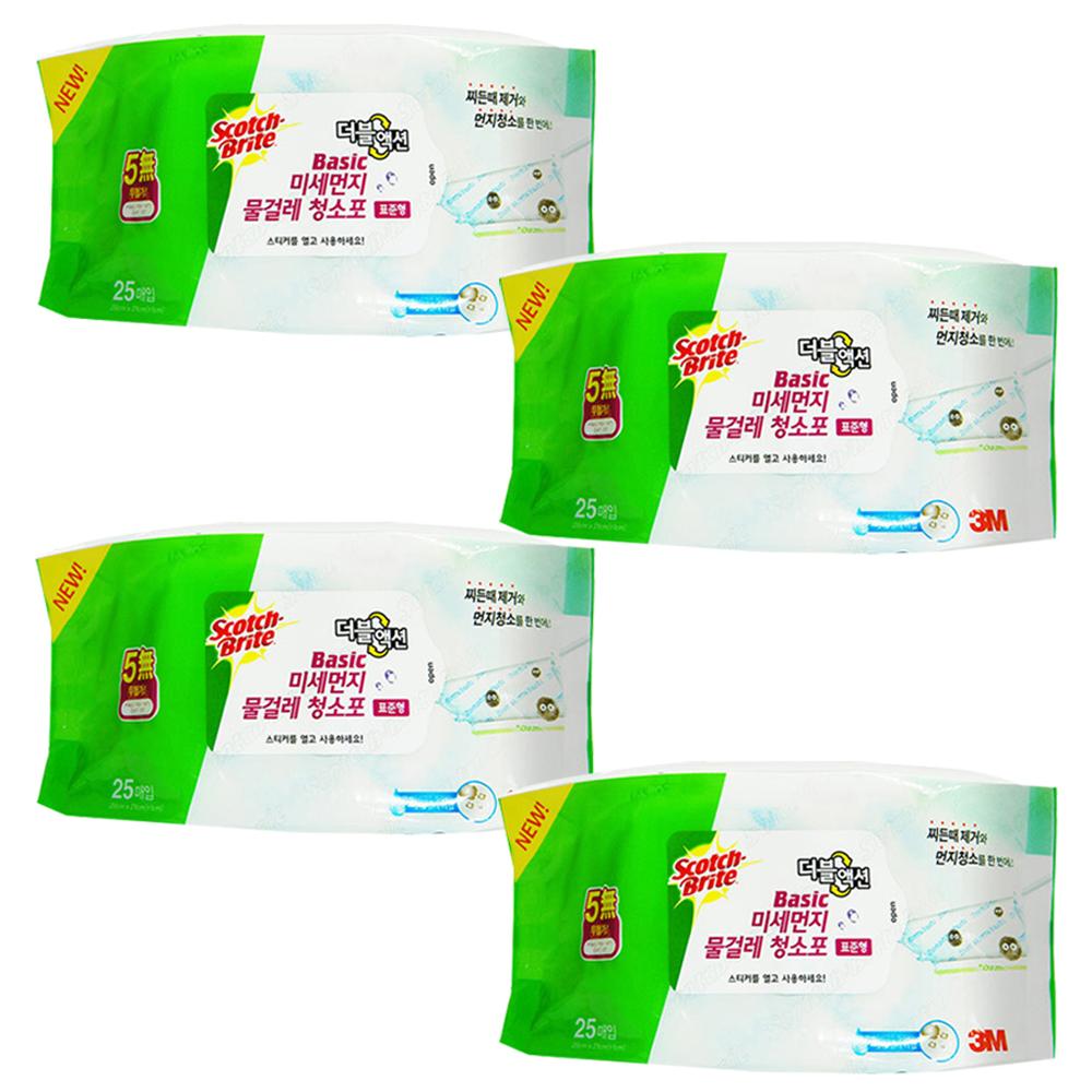 스카치브라이트 베이직 미세먼지 물걸레 더블액션 청소포 표준형 25p, 4개입