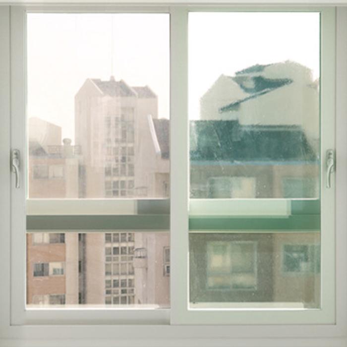 해담 무접착 사계절 창문 단열필름, 투명 그린