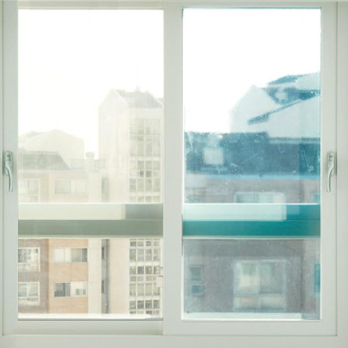 해담 무접착 사계절 창문 단열필름, 투명 블루