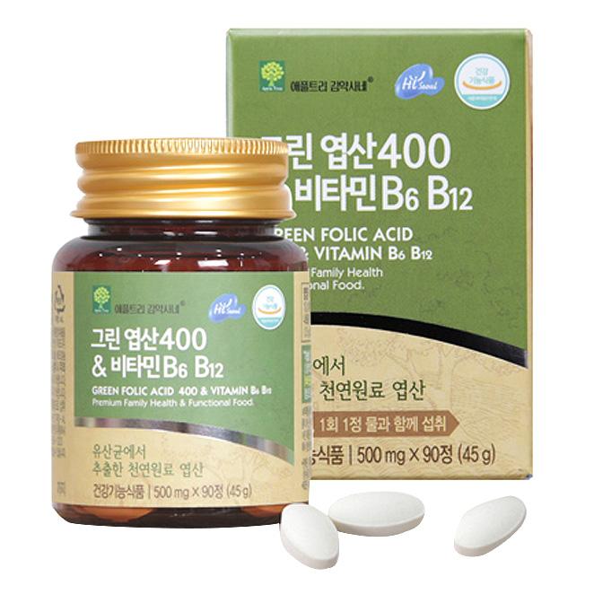 애플트리김약사네 그린엽산400 비타민 B6 비타민b12 임산부비타민b 임산부엽산, 90정, 1개
