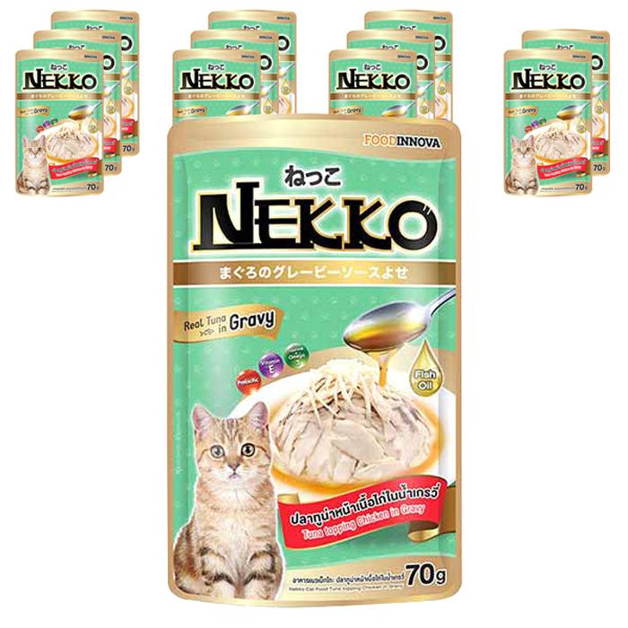 네코 그레이비 참치 토핑 닭고기 고양이 습식사료, 70g, 12개입