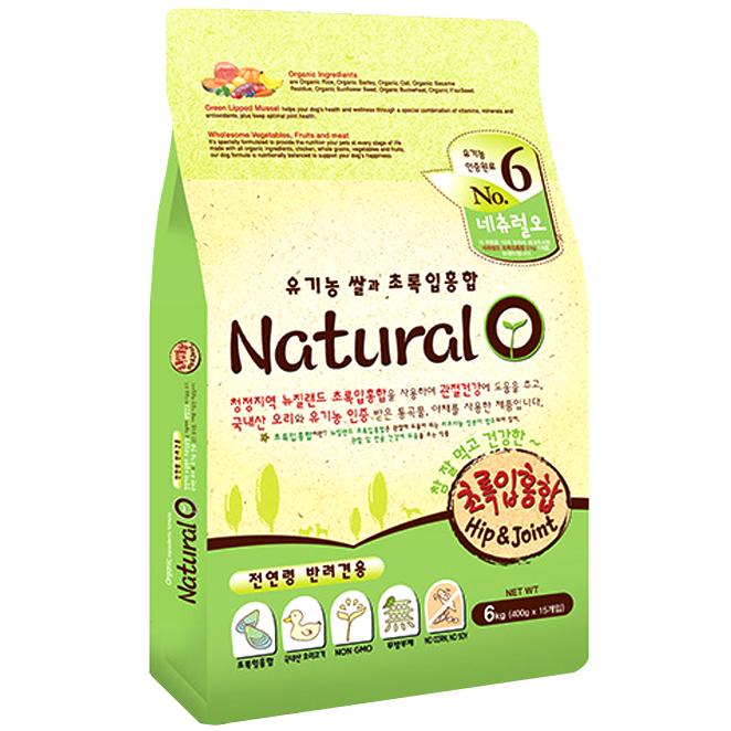 네츄럴오 유기농쌀과 초록입홍합 애견사료, 6kg, 1개