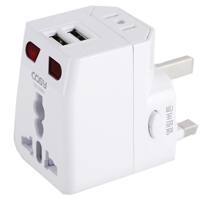 코시 USB 2포트 여행용 아답터 TA1239U, 1개