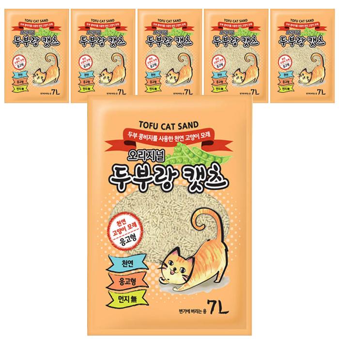 두부랑캣츠 천연 고양이 모래 오리지널, 7L, 6개