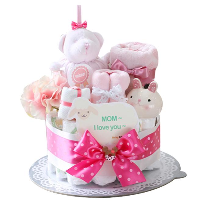 베이비베이커리 램스앤베어 기저귀케익 신생아용, 핑크
