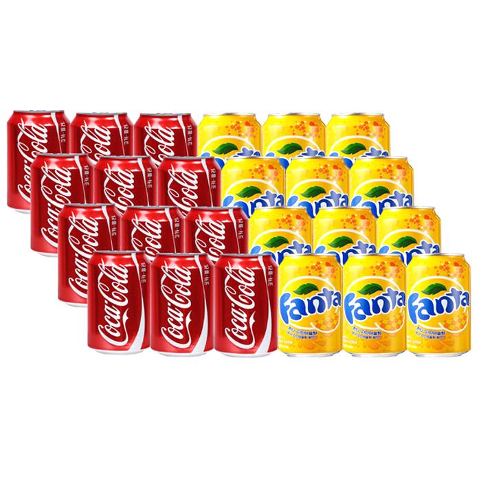코카콜라 환타 파인애플 세트, 업소용 콜라 355ml 12p + 환타 파인애플 355ml 12p, 1세트