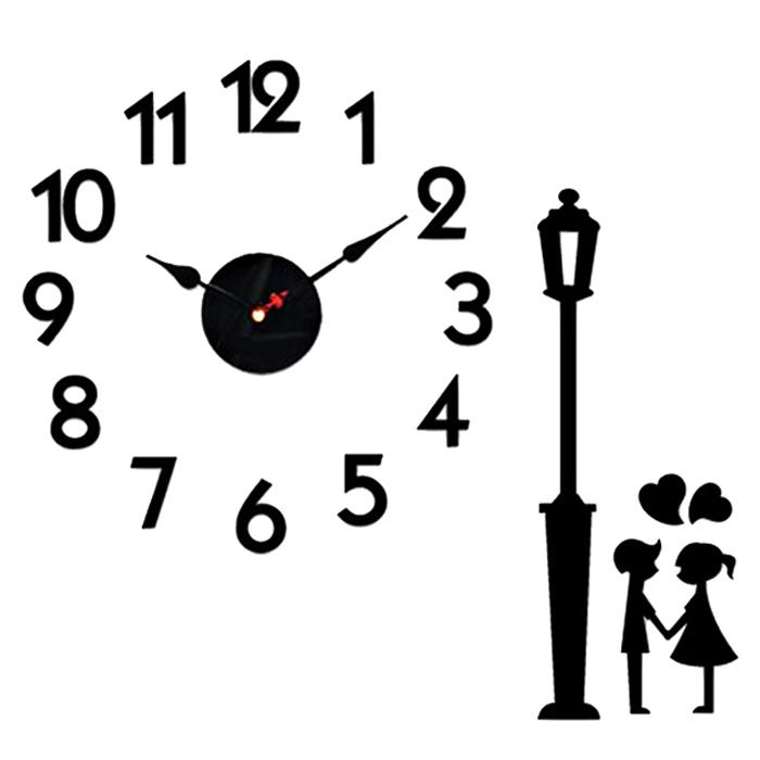홈코코 압축스펀지 블랙 숫자 스토리 벽시계, 가로등