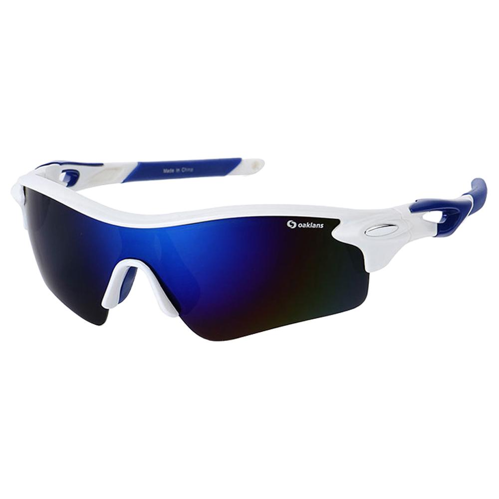 오클렌즈 편광 렌즈 스포츠 선글라스 Q320, 프레임(화이트 + 블루), 편광렌즈(블루밀러)