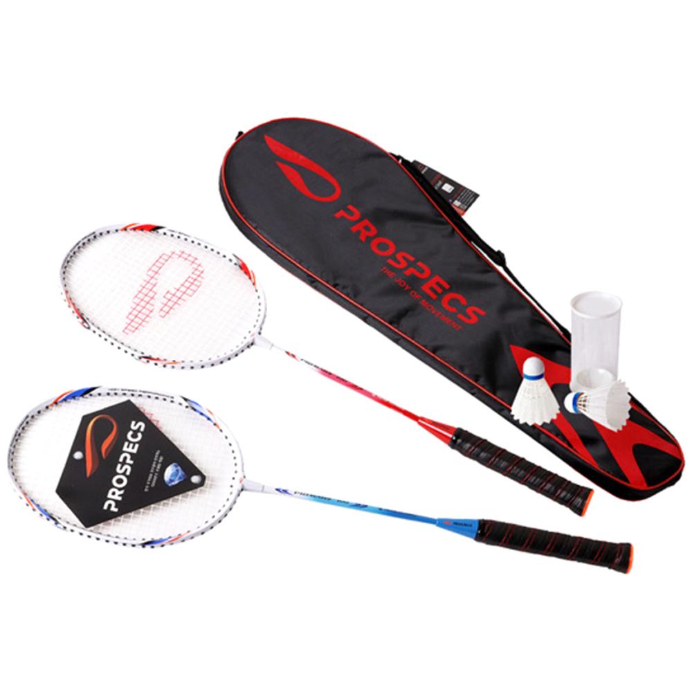 프로스펙스 배드민턴 라켓 100 레드 + 블루 + 셔틀콕 2p + 라켓 가방, 1세트