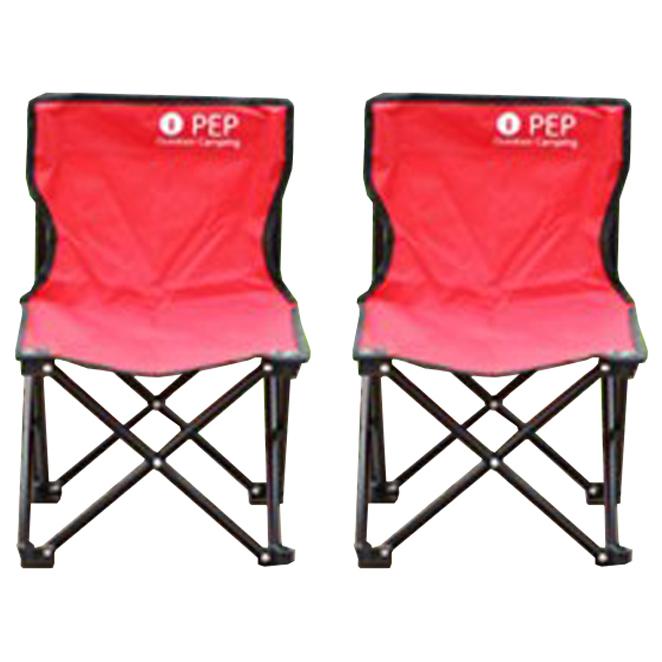 PEP 휴대용 접이식 캠핑의자 소형, 레드, 2개