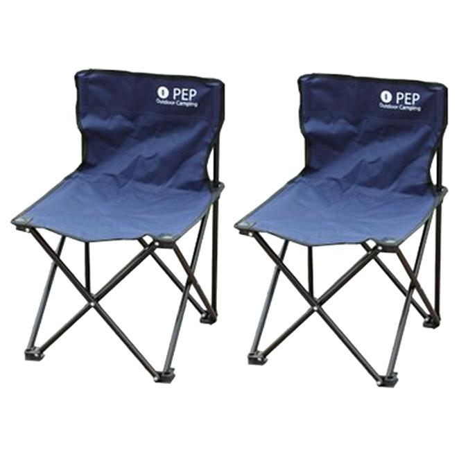 PEP 휴대용 접이식 캠핑의자 소형, 네이비, 2개