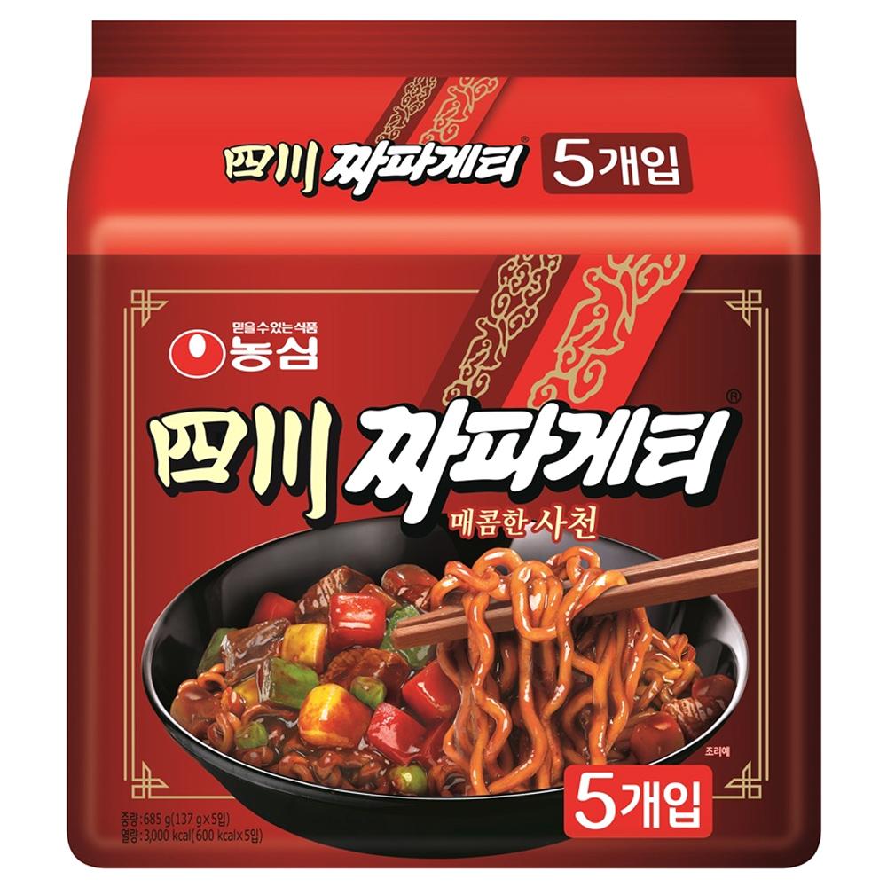 농심 사천짜파게티 5봉, 137g, 5개