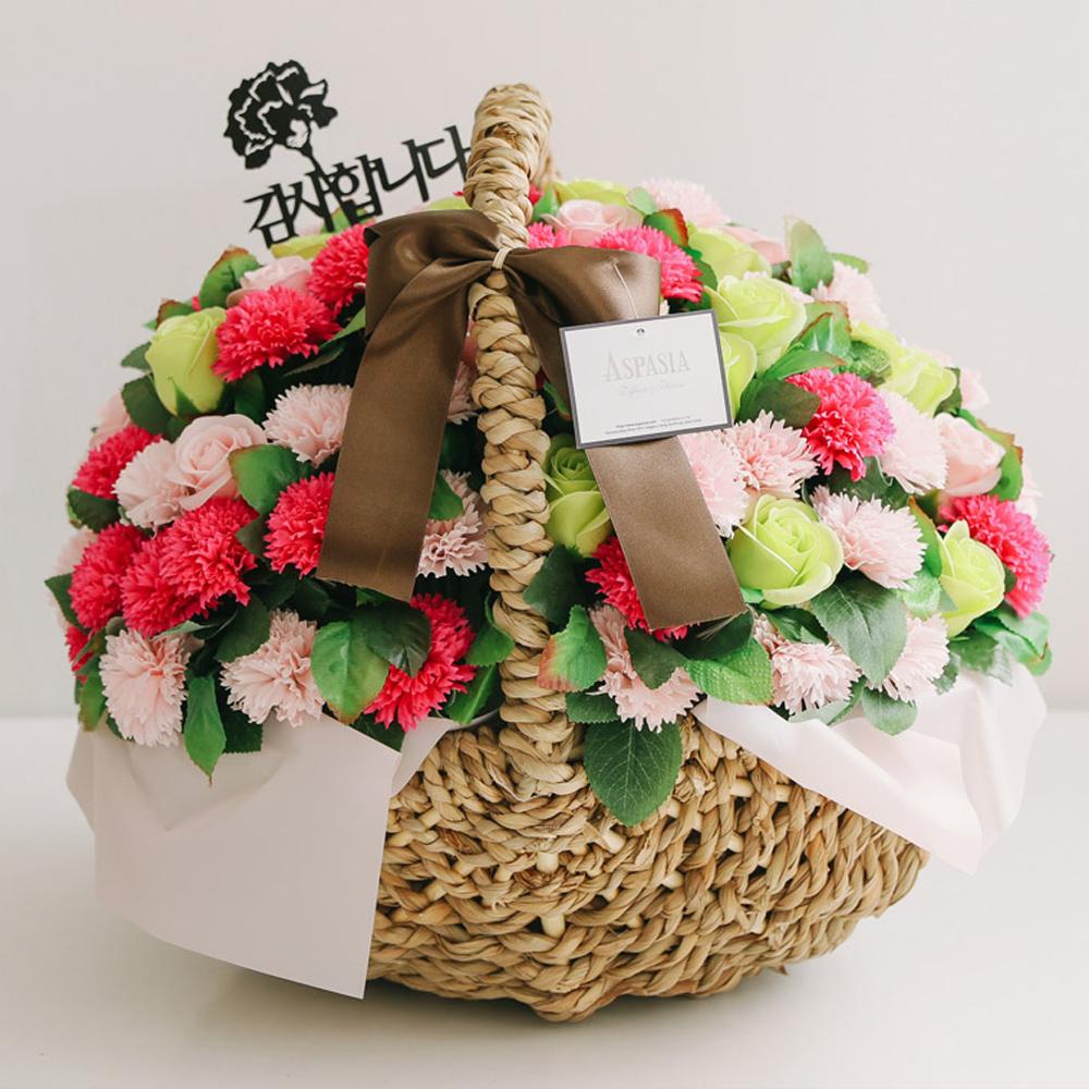 아스파시아 만수무강하세요 100송이 로즈 비누꽃 바구니 로즈카네이션 핑크 1개