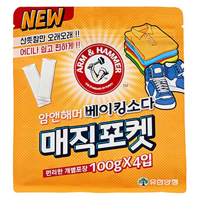 유한양행 암앤해머 베이킹소다 매직포켓 탈취제 본품, 100g, 4개입