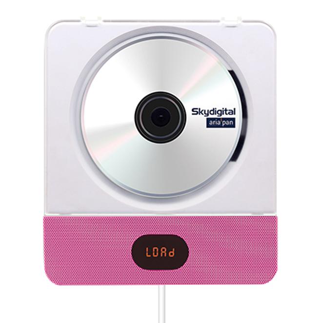 스카이디지탈 아리아판 벽걸이 블루투스 CD 플레이어 2 + 스탠드 거치대, 단일 상품, 핑크
