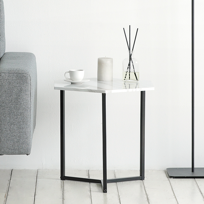 룸앤홈 노르딕 육각 테이블, 마블 + 블랙