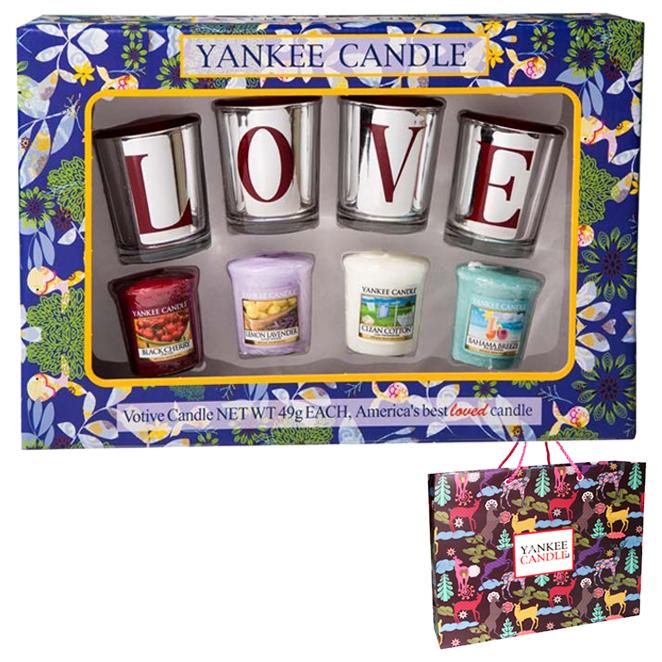 양키캔들 보티브 LOVE 캔들홀더 4p + 캔들 4p 선물세트 + 쇼핑백, 블랙체리, 클린코튼, 레몬라벤더, 바하마 브리즈