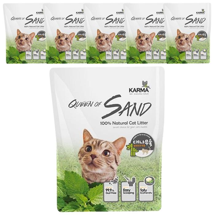 퀸오브샌드 응고형 고양이 두부 모래 대나무숯, 3kg, 6개