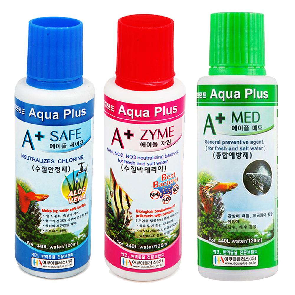 아쿠아플러스 수질 관리 세트 수질안정제 120 ml + 수질박테리아 120 ml + 종합예방제 120 ml, 1세트