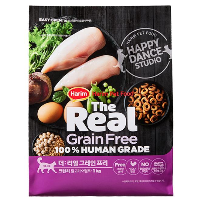 하림펫푸드 더리얼 그레인프리 크런치 어덜트 고양이 사료, 닭, 1kg